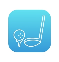 Golf ball and putter line icon vector