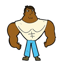 Comic cartoon body builder vector