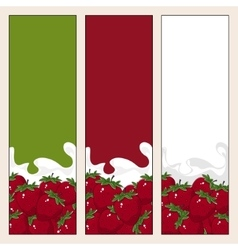 Set of vertical banners with berry strawberry vector