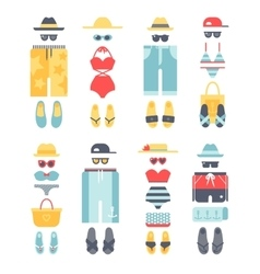Beachwear different flat summer icons vector
