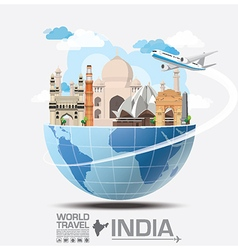 India landmark global travel and journey vector