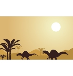 Silhouette of spinosaurus at noon vector