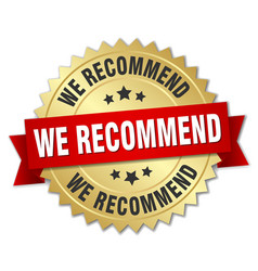 we recommend 3d gold badge with red ribbon vector image