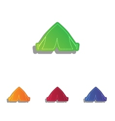 Tourist tent sign colorfull applique icons set vector