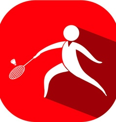 Badminton icon on red badge vector image vector image