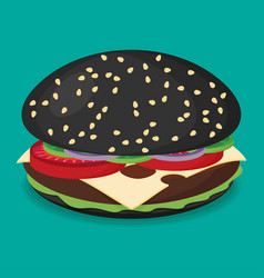 black hamburger flat design vector image