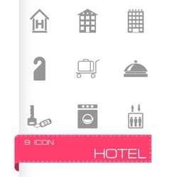 black hotel icons set vector image
