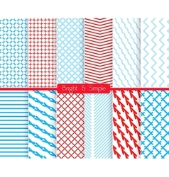Bright and simple red and shades of blue pattern vector image