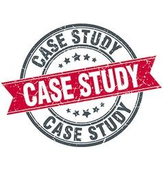 Case study red round grunge vintage ribbon stamp vector