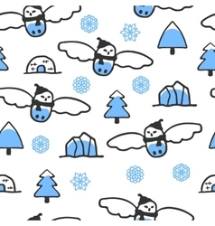 Childish seamless pattern with doodle snowy owl vector