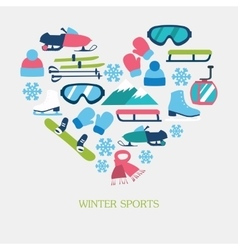 Collection of winter icons activities in flat vector