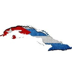 Cuba map with flag inside vector