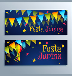 Festa junina holiday festival banners set vector