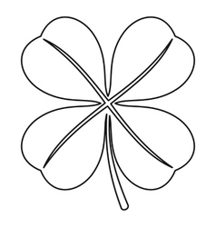 Four leaf clover leaf icon outline style vector image vector image