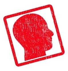 Head profile icon rubber stamp vector