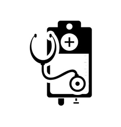 Iv drip bag and stethoscope icon vector