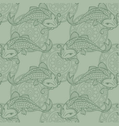 Koi carps seamless texture vector