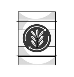 Line tank with plant symbol to environment care vector