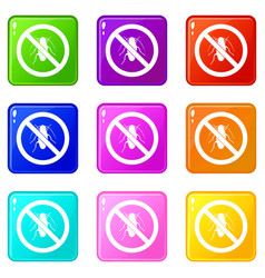 No cockroach sign icons 9 set vector