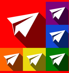 Paper airplane sign set of icons with vector