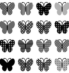 Patterned butterflies set vector image vector image