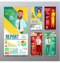 roll up banner set vertical billboard vector image vector image