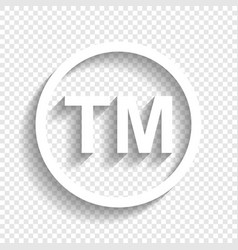 Trade mark sign white icon with soft vector
