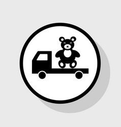 Truck with bear flat black icon in white vector