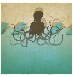 Vintage marine background with octopus vector image