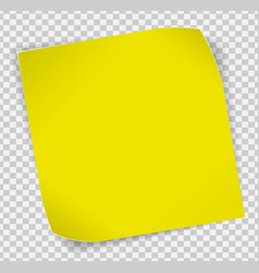 Yellow paper sticker over transparent background vector