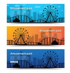 A set of banners for the amusement park vector