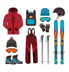 Skiing equipment icons vector