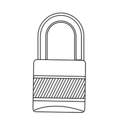 Silhouette metal padlock with striped body and vector