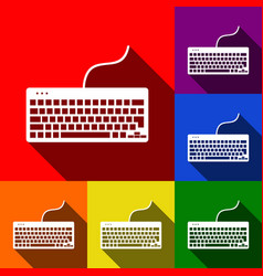 Keyboard simple sign  set of icons with vector