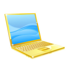 Gold laptop computer vector