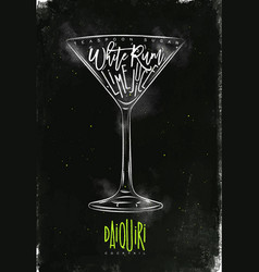 daiquiri cocktail chalk color vector image