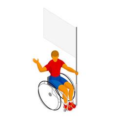 Isometirc physically disabled flag bearer vector