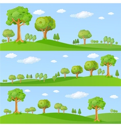 Childish background with little trees vector