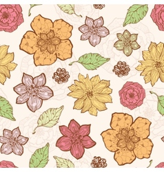 Warm fall lineart flowers seamless pattern vector