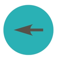 Sharp left arrow flat grey and cyan colors round vector