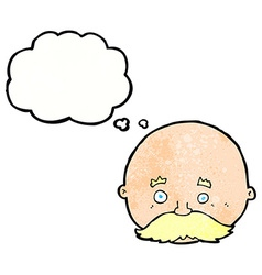 Cartoon bald man with mustache with thought bubble vector