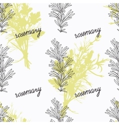Hand drawn rosemary branch and handwritten sign vector