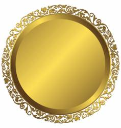 golden plate with vintage ornament vector image