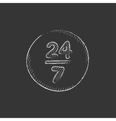 Open 24 hours and 7 days in wheek sign drawn in vector