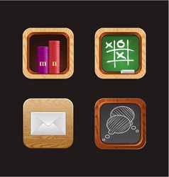 Wood web icon app vector