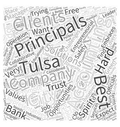 Accounting principals and tulsa word cloud concept vector