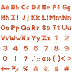 Alphabet numbers and signs set brick vector image