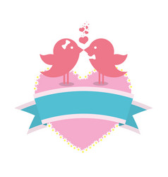 Bird couple married card with heart and ribbon vector