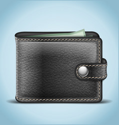 Black Leather Wallet vector image vector image