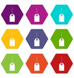 Blank black tag icon set color hexahedron vector